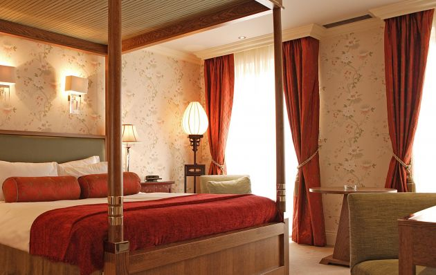 Silk curtains in a hotel bedroom
