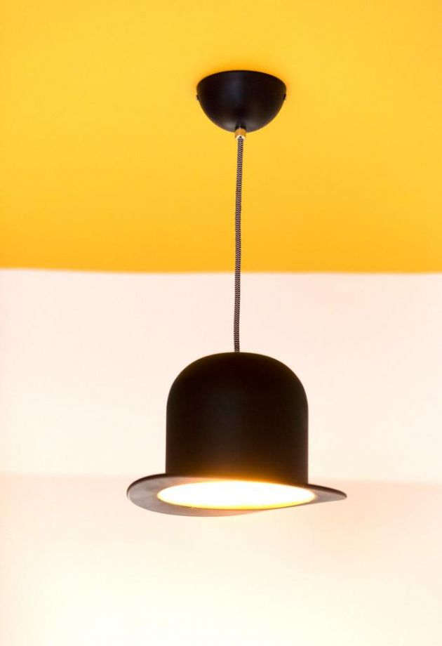 Bowler Hat light and yellow feature ceiling