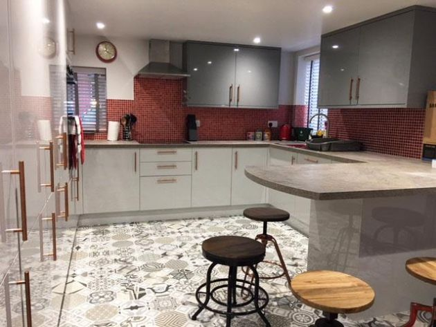 Morrocan tiles and industrial furniture Kitchen